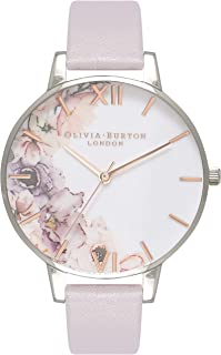Olivia Burton Women's Quartz Watercolour Florals analog Display and Leather Strap, OB16PP32
