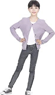 Cute Button Down Bow Pockets Cardigan Cashmere Cotton Long Sleeve Sweater for Girls