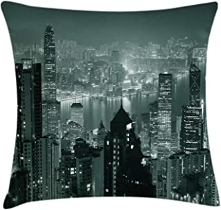 Ambesonne City Throw Pillow Cushion Cover, Aerial Night of View Hong Kong Skyline Famous Modern Urban Town Metropolis Panorama Image, Decorative Square Accent Pillow Case, 16