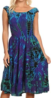 Alba Women's Off The Shoulder Smock Ruffle Midi Dress Tie Dye & Embroidery