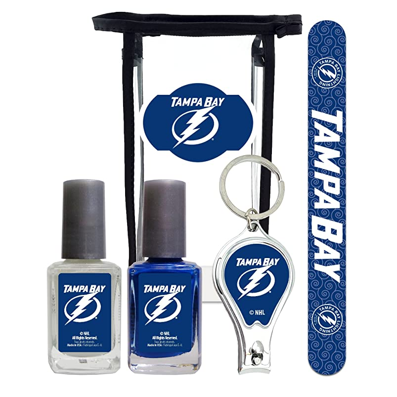 NHL Tampa Bay Lightning Manicure Pedicure Set with 7-Inch Nail File, Nail Clippers, 2 Nail Polishes in Team Colors, and Toiletry Bag for the Whole Kit. NHL Gifts for Women. nzrsdcio228503