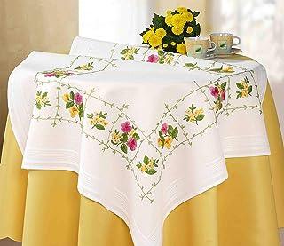 Kamaca Stickpackung Blumen - ROMANTIK Stielstich Plattstich vorgezeichnet aus 100% Baumwolle Mitteldecke 80 x 80 zum Selbersticken