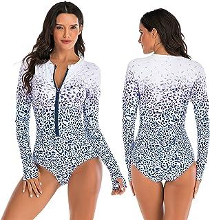 SONG Frauen Tauchen Anzüge, Badeanzugschutz Langarm Hautwächter Reißverschluss Swimwear Gedruckt Surfenanzug Rash Guards S...