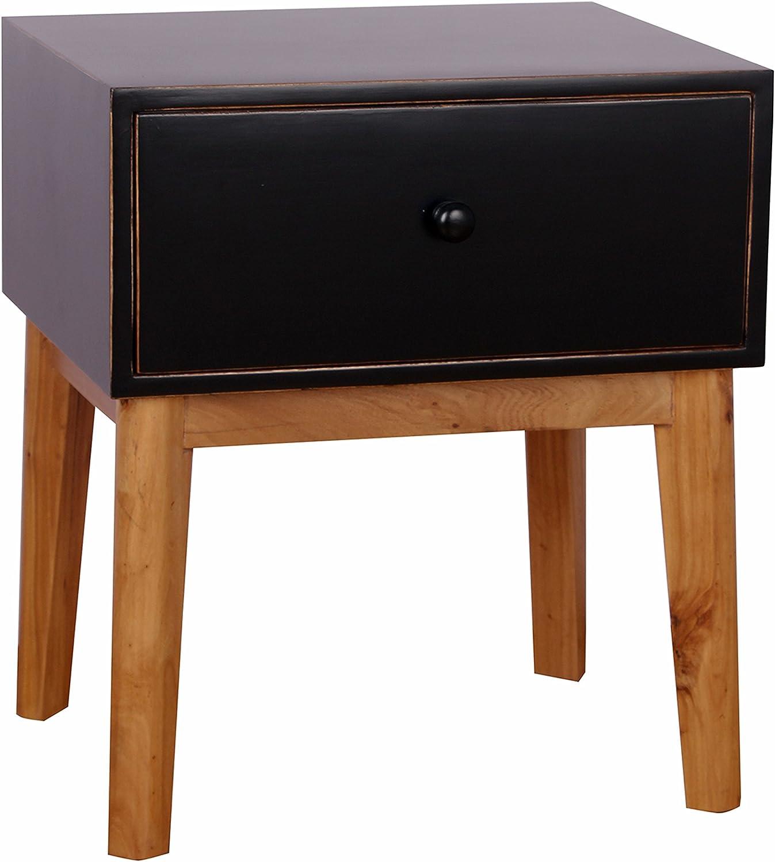 Porthos Home CB167A BLK Mina End Table, Black, Medium