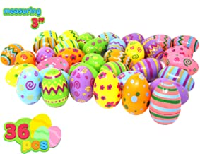 Joyin Toy 36 PCs Jumbo Plastic Printed Bright Easter Eggs, Over 3'' tall for Easter Hunt, Basket Stuffers Fillers, Classroom Prize Supplies, Filling Treats and Party Favor