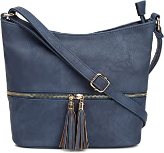 DELUXITY Medium Hobo Crossbody Bag with Tassel/Zipper Accent