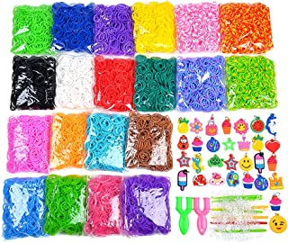 9200+ Wonder Loom Rubber bands Refill Bracelet D I Y Set For Kids Include: 8400+ Premium Quality Loom Bands in 20 Unique Colors + 400 S-Clips + 30 Lovely Charms + 6 Crochet Hooks + 2 Y Loom(without Lo