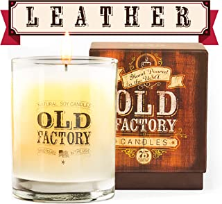 Old Factory Scented Candles - Leather - Decorative Aromatherapy - Handmade in The USA with Only The Best Fragrance Oils - ...