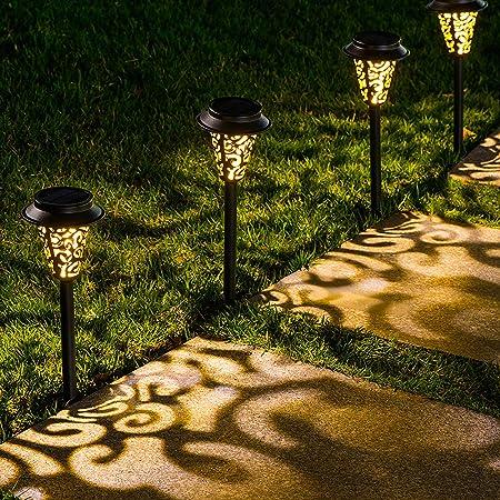 10pcs Solar Powered Garden Lights Stake Outdoor Patio Pathway Light Post D4N1