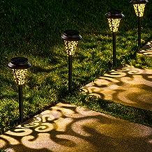 LeiDrail Solar Pathway Lights Outdoor Garden Path Light Warm White LED Black Metal Stake Landscape Lighting Waterproof for...