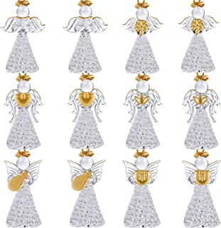 Boao 12 Pieces Christmas Angle Ornaments Set Mini Size Angle Ornaments Clear Glass Hanging Angels for Christmas Tree Decorations, 6 Styles