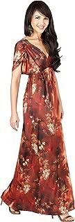 Womens Long V-Neck Short Sleeve Summer Flowy Casual Sundress Maxi Dress