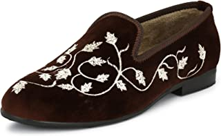 EL PASO Men's Brown Velvet Embroided Casual Slip On Shoes