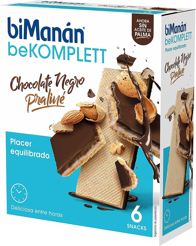 BiManán beKOMPLETT - Barquillos con Chocolate negro rellenos de Praliné. Ricos en fibra. -Caja de 6 unidades