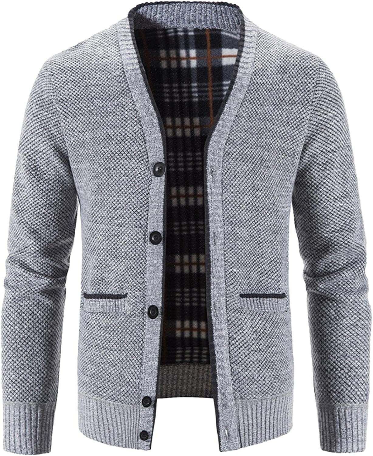 Huangse Mens Shawl Collar Cable Rib Knitted Button Closure Casual Winter Chunky Thermal Long Sleeve Solid Cardigan Sweater