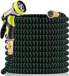 Yetolan Expandable Garden Hose 75 ft with 9 Function High Pressure Nozzle, lightweight Water Hose with Durable 3 Layers Latex Core Leak Resistan