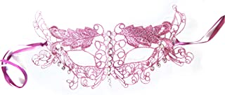 Hot Pink Venetian Lace Masquerade Mask for Women. Rhinestones, Soft and Flexible Lace! Costume Ball, Mardi gras.