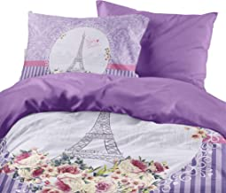 Gold Case Paris Series Comforter Cover Set - Mon Amour - Twin Size - Made in Turkey - 100% Cotton/Ranforce / 4 Pieces - Unique Item (No Comforter Included)