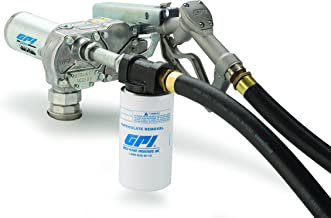 GPI 110612-01, M-180S-ML/Filter Aluminum Fuel Transfer Pump with 10 Micron Filter, 18 GPM, 12-VDC, 1-Inch Manual Leaded Nozzle, 12-Foot Dispensing Hose, 18-Foot Power Cord & Adjustable Suction Pipe