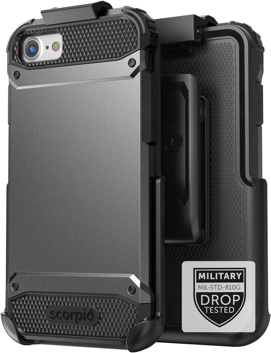 Encased iPhone 7 Plus Belt Case Black - Gray Military Spec Ultra Tough Protection w/Holster Combo for Apple iPhone 7 Plus 5.5