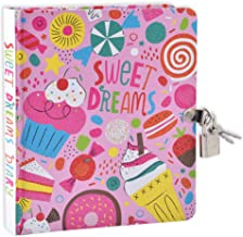 MollyBee Kids Sweet Dreams Pink Glitter Lock and Key Diary for Girls