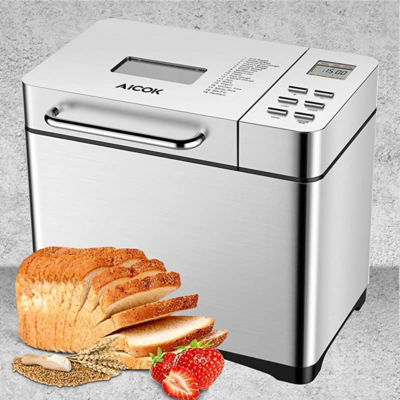 Aicok Stainless Steel Bread Machine 2LB 19 In 1 Programmable XL Bread Maker With Fruit Nut Dispenser Nonstick Ceramic Pan 3 Loaf Sizes 3 Crust Colors Gluten Free Setting Reserve Keep Warm Set