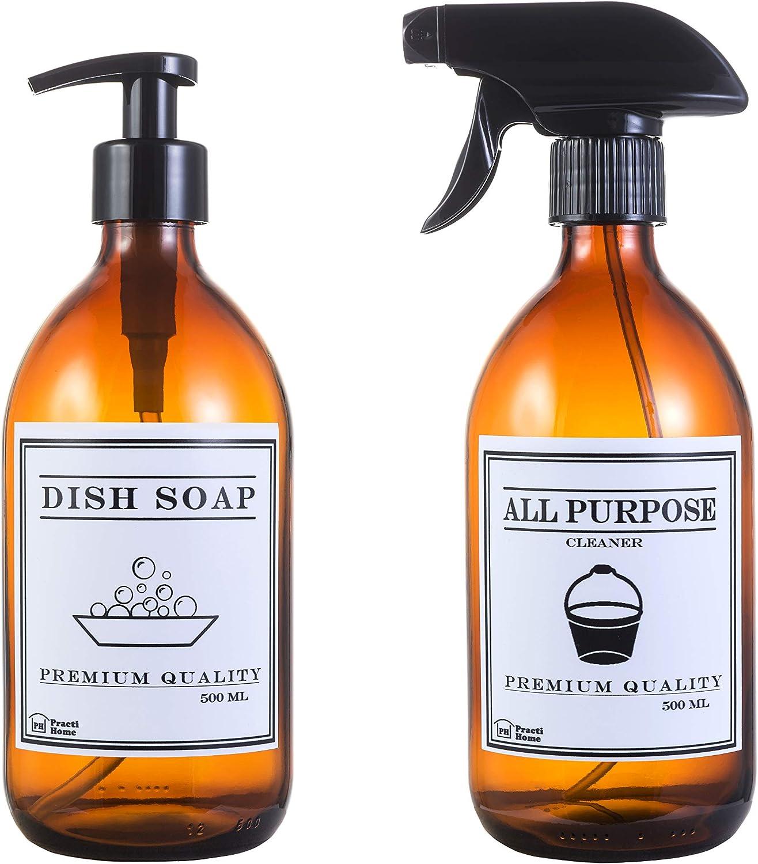 Dispensador Jabón Cristal Ámbar & Vaporizador Spray Multiuso (Ambar, Dish Soap & All Purpose)