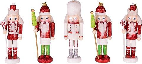 "Clever Creations Nutcracker Christmas Ornament Figure Set Set of 5 | 2 Peppermint, 2 Christmas Tree, and Leader Soldier Nutcracker | Festive Christmas Decor | 5.5"" Tall"