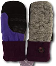 product image for Jack & Mary Designs Handmade Womens Fleece-Lined Wool Mittens, Made from Recycled Sweaters in the USA (Gray/Maroon/Purple, Regular)