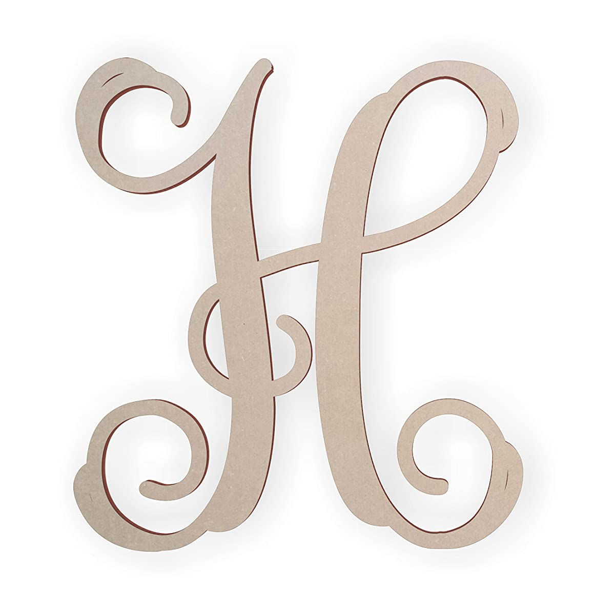 Wooden Monogram Letter H Unfinished and Ready to Paint
