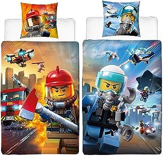 BERONAGE Ropa de Cama Reversible de Franela de Lego City,