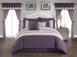 Chic Home Katrin 20 Piece Comforter Color Block Geometric Embroidered Bag Bedding-Sheet Set Pillowcases Window Treatments Decorative Pillows Shams Included, Queen, Plum