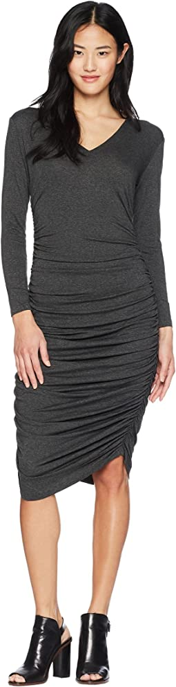 Long Sleeve V-Neck Shirred Dress