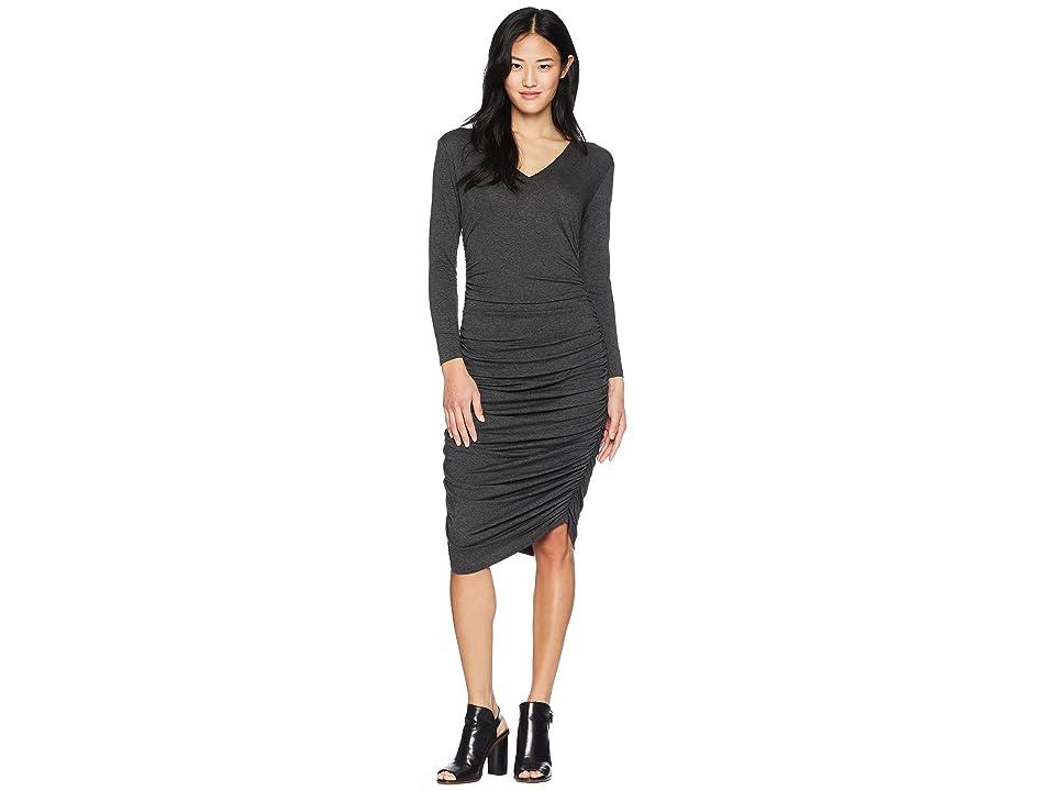 KAMALIKULTURE by Norma Kamali Long Sleeve V-Neck Shirred Dress (Dark Grey) Women