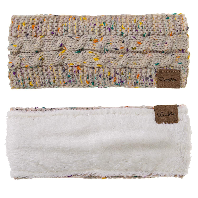 Loritta 4 Pack Womens Winter Headbands Fuzzy Fleece Lined Ear Warmer Cable Knit Thick Warm Crochet Headband Gifts,Multi E