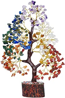 PREK Seven Chakra Crystal Gemstone Bonsai Money Tree with Golden Wire and 300 Beads Figurine Standard Size - Multicolour, ...