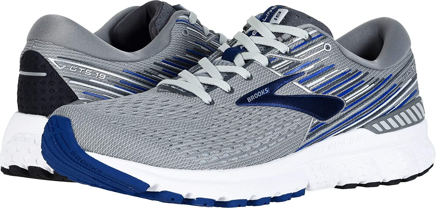 Brooks Men's Adrenaline GTS 19 Grey bluee Ebony 9 EEEE US