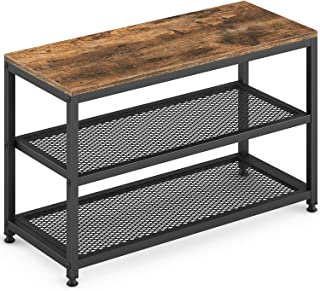 Ballucci Industrial Shoe Bench, 3-Tier Shoe Rack, Seat with Storage Organizer, Vintage Industrial, Wood Furniture with Metal Frame, for Hallway, Entryway, Living Room, Bathroom, Rustic Brown