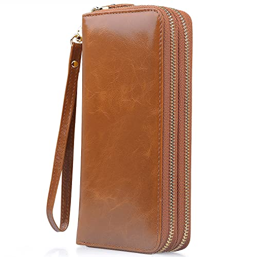 426380d054cb Jack Chris Leather Wallets for Women Long Large Capacity Purse with  Wristlet