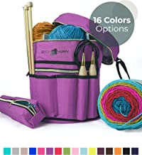 Stitch Happy Designer Knitting Bag Yarn Storage with 7 Multi-Use Pockets and Extra Large Zippered Pocket for Crochet Supplies Inner Organizer Protects Crochet Thread Wool Yarns purple SH:Ybag-VicLilac