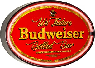We Feature Budweiser Beer  - Reproduction Vintage Advertising Oval Sign - Battery Powered LED Neon Style Light - 16 x 11 x 2 Inches