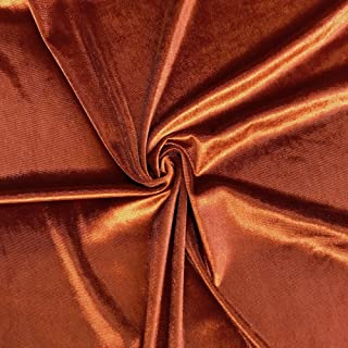 Stretch Velvet Fabric 60'' Wide by the Yard for Sewing Apparel Costumes Craft (1 YARD, Rust)