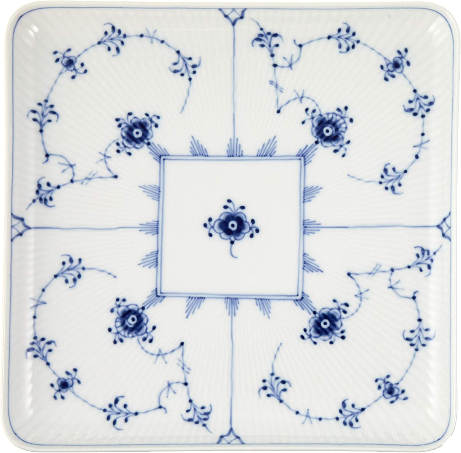 Limited Special Price Royal Copenhagen Blue Fluted Plate Plain Square 8