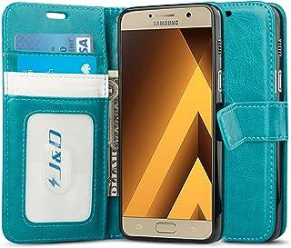 J&D Compatible para Galaxy A5 (2017) Funda, [Protección de Cartera] [Soporte Plegable] Funda Pesada Resistentes Billetera para Samsung Galaxy A5 (Release in 2017) Funda Cuero - Turquesa
