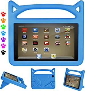 Amazon Fire HD 8 Tablet Case, Shockproof Handle Friendly Convertible Stand Kids Case for Fire HD 8 inch Tablet (Compatible with 7th and 8th Generation Tablets, 2017 and 2018 Releases), Blue