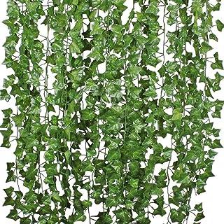 ELF 12 Strands Artificial Ivy Leaf Plants Vine Hanging Garland Fake Foliage Flowers Home Kitchen Garden Office Wedding Wal...