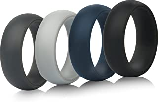 Mens Silicone Wedding Rings Wedding Bands - 5 Pack / 4 Pack / 3 Pack - 8.7mm Wide (2mm Thick)