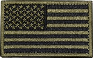 Tactical Morale Patch USA Flag Embroidered American Flag Patch Hook&Loop Fastener Backing Emblem (Black+Army Green)