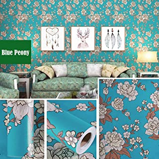 LIFAVOVY Retro Peony Peel and Stick Wallpaper Decorative Contact Paper Floral Removable Self Adhesive Shelf Liner Roll 17.7