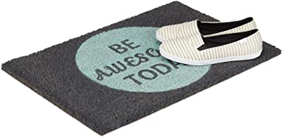 "Relaxdays Coir Doormat Coconut Fibre Floor Mat ""Be Awesome Today"" Welcome Mat 40 x 60 cm, Anti-Slip PVC Underside, Grey"
